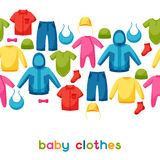 Baby clothes. Seamless pattern with clothing items Stock Photos