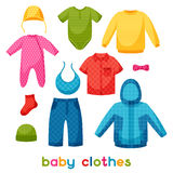 Baby clothes. Set of clothing items for newborns Royalty Free Stock Images