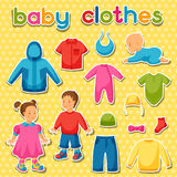 Baby clothes. Set of clothing items for newborns Stock Image