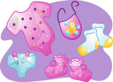Baby clothes set illustration Stock Image
