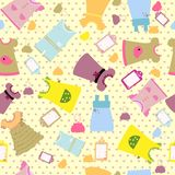 Baby clothes set seamless pattern - funny design Royalty Free Stock Photo