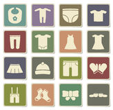 Baby clothes simply icons Stock Photos