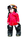 Baby in clothes snowboarder in goggles Stock Photos