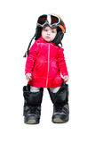 Baby in clothes snowboarder in goggles Stock Photo