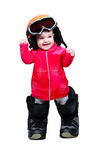 Baby in clothes snowboarder in goggles Stock Images