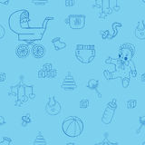Baby clothes and toys hand drawn seamless pattern Stock Images