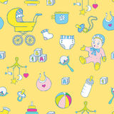 Baby clothes and toys hand drawn seamless pattern Royalty Free Stock Photography