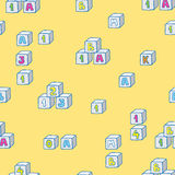 Baby clothes and toys hand drawn seamless pattern Royalty Free Stock Photo
