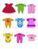 Baby clothes. Vector baby clothes isolated on a white background Stock Images