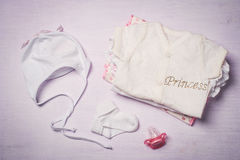 Baby clothes, view from above. Top view Royalty Free Stock Images