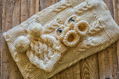 Baby clothes. On a vintage wooden table royalty free stock photography