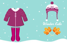 Baby clothes in winter, Design for baby cards Stock Images