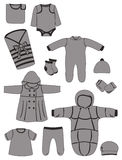 Baby clothing. A set of silhouettes of baby clothing, vector illustration Royalty Free Stock Image