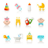 Baby clothing and accessories icons Royalty Free Stock Images