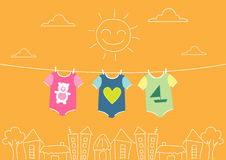 Baby clothing on clothespin on morning,Vector illustrations Stock Photo