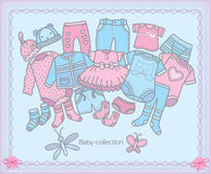 Baby clothing collection Royalty Free Stock Photos