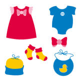 Baby clothing. Different baby clothing collection in ed and blue color Vector Illustration