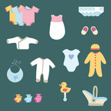 Baby clothing. Set of baby clothes, for girls and boys Royalty Free Stock Photo
