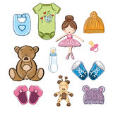 Baby clothing, toys and shoes vector illustration Royalty Free Stock Images