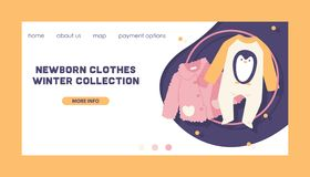 Baby clothing vector fashion kids winter collection of clothes web-site design and newborn garment child bodysuit. Apparel for children advertising shopping vector illustration