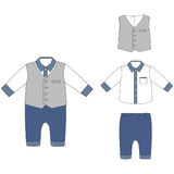 Baby cloths, baby boy outfit- elegant shirt, pants and vest Royalty Free Stock Photos