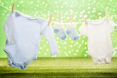 Baby Cloths Hanging On Rope Royalty Free Stock Photo