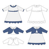 Baby cloths set, baby girl outfit- elegant dress and bolero jacket Stock Photography