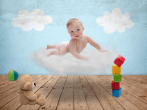 Baby on a cloud Royalty Free Stock Photography