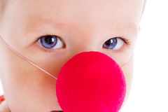 Baby with clown nose. Baby with red clown nose on, shot closeup Stock Images