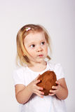 Baby with coconut Royalty Free Stock Image