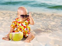 Baby with coconut Royalty Free Stock Photo