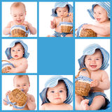 Baby collage. Collage of different baby photos Royalty Free Stock Photo