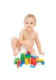 Baby with color blocks Royalty Free Stock Photography