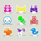 Baby color icons toy set logo sign Royalty Free Stock Photos