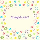 Baby colored gears on isolated light background, with space for text. Vector illustration. stock illustration