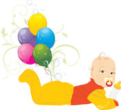Baby and colorful balloons Royalty Free Stock Photos