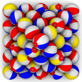 Baby colorful balls piled in form of pyramid. On a white surface. Play game, sport beach, color round sphere, summer activity, balloon air. . 3D illustration Stock Image