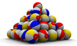 Baby colorful balls piled in form of pyramid. On a white surface. Play game, sport beach, color round sphere, summer activity, balloon air. . 3D illustration Royalty Free Stock Photo