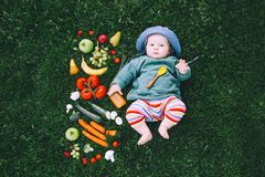 Healthy child nutrition, baby feeding. Stock Image