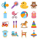 Baby colorful icons set. Icons vector illustration in flat design Stock Image