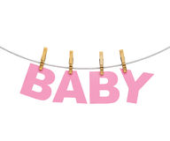 Baby colorful letters hanging on rope with clothespins, isolated on white. Babyshower theme Stock Photo