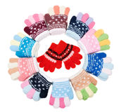 Baby Colour Knitted Gloves Stock Image