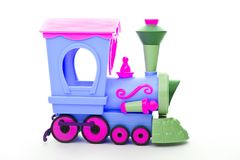 Baby Colours Toy train studio quality white background. Funny pretty Stock Images