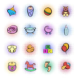 Baby comics icon set Stock Photography