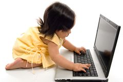 Baby and Computer Royalty Free Stock Images