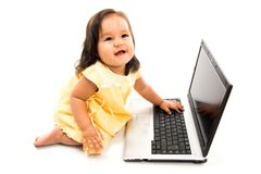 Baby and Computer Stock Photography