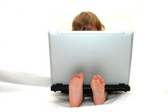 Baby Computer Genious Royalty Free Stock Photos