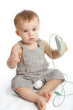 Baby with computer mouse Royalty Free Stock Images