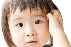 Baby with confused face. She is a beautiful Asian baby with confused face Royalty Free Stock Photo