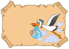 Baby congratulation with stork. Vector illustration Royalty Free Stock Images